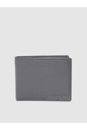 amicraft Men Charcoal Grey Leather Solid Two Fold Wallet with Detachable Flap