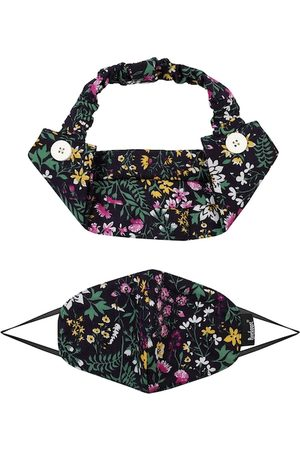 Anekaant Women Navy Blue & Green Printed Cotton Reusable 3-Ply Cloth Mask With Hairband
