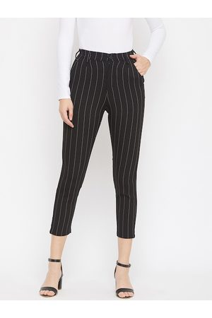 Crimsoune Club Women Black Smart Regular Fit Striped Cigarette Trousers