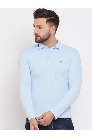 Okane Men Blue Solid Polo Collar T-shirt