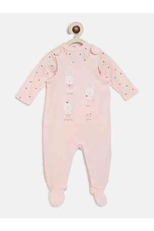 chicco Infant Kids Pink & Red Printed Rompers with Bodysuit