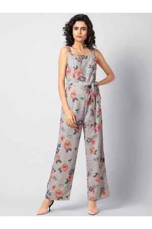 FabAlley Women Jumpsuits - Women Grey & Coral Pink Floral Printed Basic Jumpsuit
