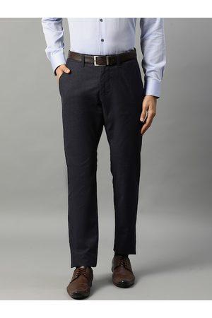 Matinique Men Formal Trousers - Men Blue Slim Fit Solid Formal Trousers