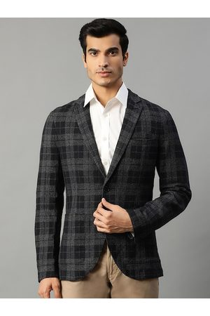 Matinique Men Navy Blue & Grey Slim-Fit Checked Single-Breasted Casual Blazer