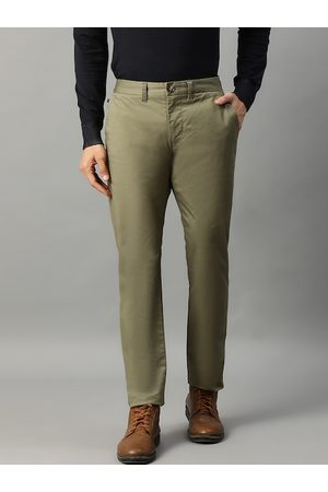 Matinique Men Olive Green Slim Fit Solid Regular Trousers