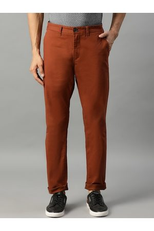 Matinique Men Rust Brown Slim Fit Solid Chinos