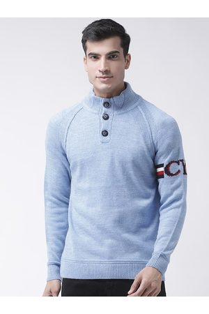 Club York Men Blue Solid Pullover Sweater