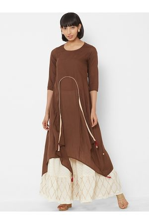 Vedic Women Brown & Cream-Coloured Solid A-Line Kurta
