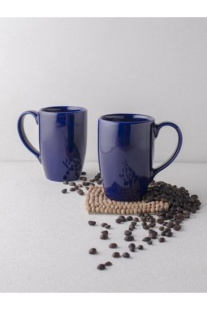 Ariane Navy Blue Solid 2 Pieces Porcelain Mugs