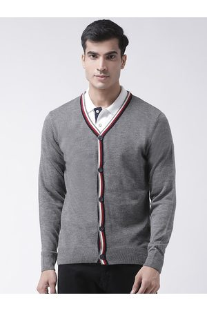 Club York Men Grey Solid Cardigan Sweater