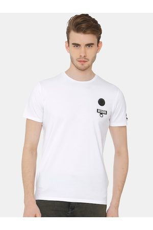 Rex Straut Men White Printed Round Neck T-shirt