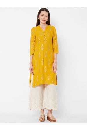 Vedic Women Mustard Yellow & Gold-Coloured Foil Floral Printed A-Line Kurta