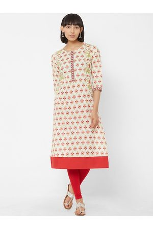 Vedic Women Off-White & Red Printed A-Line Kurta