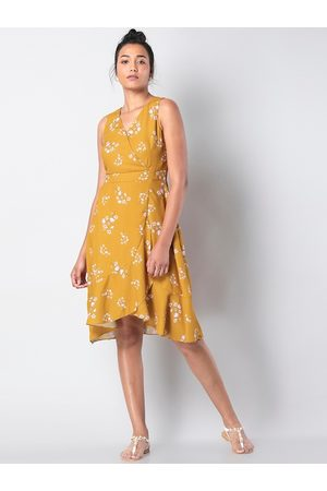 FabAlley Women Yellow Floral Printed Fit and Flare Dress