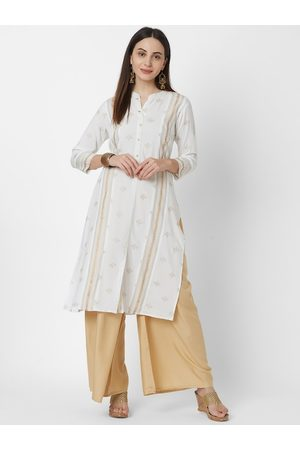 Vedic Women White & Gold-Coloured Foil Printed A-Line Kurta
