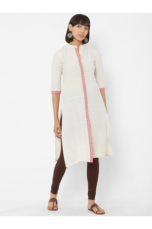 Vedic Women Off-White Solid A-Line Kurta