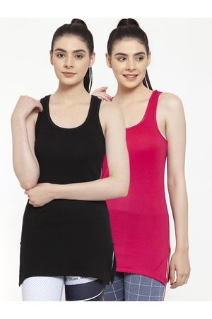 Friskers Women Pack Of 2 Black & Pink Solid Tank Tops