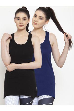 Friskers Women Pack Of 2 Black & Blue Solid Tank Top