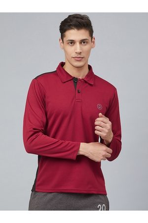 CHKOKKO Men Maroon Solid Polo Collar Training T-shirt