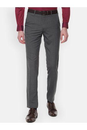 Van Heusen Men Charcoal Grey Slim Fit Self Design Formal Trousers