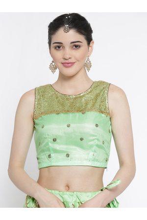 studio rasa Women Green & Gold-Coloured Sequin Embellished Ethnic Crop Top