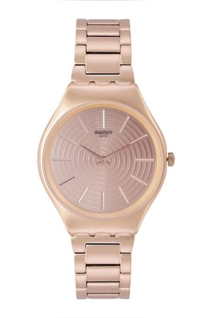 Swatch Unisex Rose Gold-Toned Textured Goldtralize Analogue Watch SYXG110G