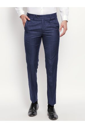 RICHARD PARKER by Pantaloons Men Navy Blue Slim Fit Striped Formal Trousers