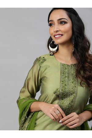 Inddus Women Olive Green Embroidered Kurta with Trousers & Dupatta