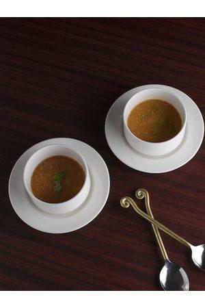 Ariane White 4 Pieces Fine Porcelain Classic Soup Bowls with Saucers Set