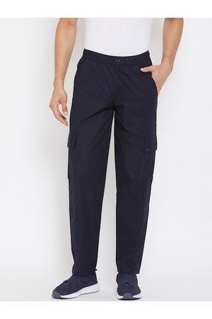 Okane Men Navy Blue Solid Track Pants