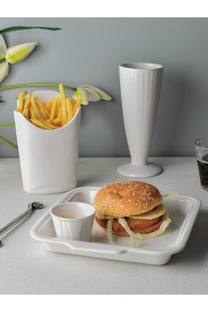 Ariane White Solid Porcelain Set of Tray with Dip Bowl