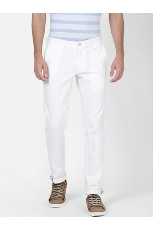 T-BASE Men White Tapered Fit Solid Chinos