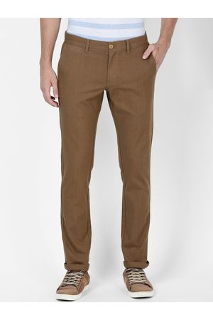 T-BASE Men Brown Tapered Fit Solid Chinos