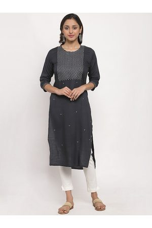 Tag 7 Women Grey Embroidered Straight Kurta