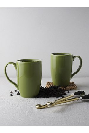 Ariane Green Solid 2 Pieces Porcelain Mugs