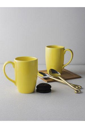 Ariane Yellow 2 Pcs Solid Porcelain Mugs 300 ml
