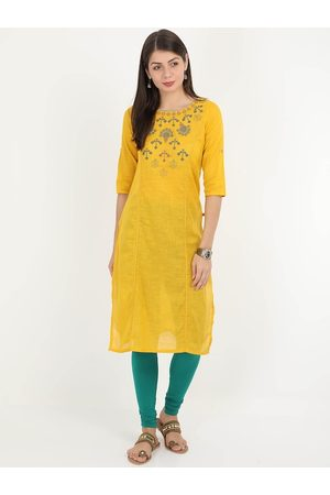 Alena Women Yellow Yoke Design Straight Kurta