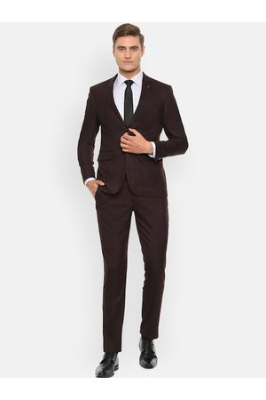 Louis Philippe Men Formal Trousers - Men Brown Checked Slim-Fit Single-Breasted Formal Suit