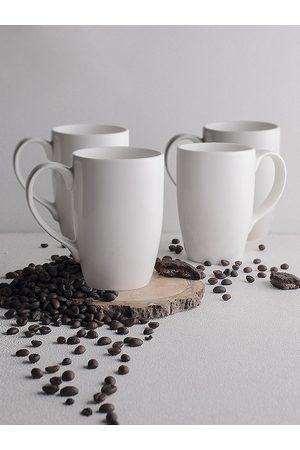 Ariane Set Of 4 White Solid Coffee Mugs 300 ml