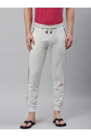 Sweet Dreams Men Off White Solid Straight Fit Lounge Joggers