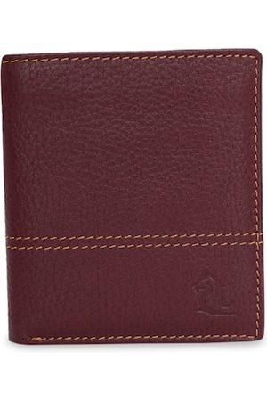 KARA Men Maroon Solid Two Fold Leather Wallet