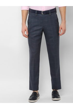 Simon Carter Men Charcoal Grey Slim Fit Checked Formal Trousers