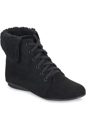 BRUNO MANETTI Women Black Solid Suede Mid-Top Sneakers