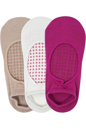 Balenzia Women Pack Of 3 Solid Anti-Bacterial Anti-Skid Ankle-Length Yoga Socks