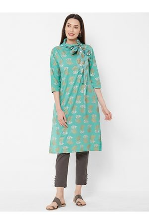 Vedic Women Green & Gold-Coloured Floral Printed A-Line Kurta