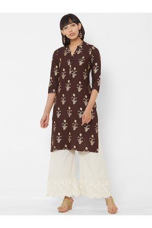 Vedic Women Brown & Gold-Coloured Floral Foil Printed Straight Kurta