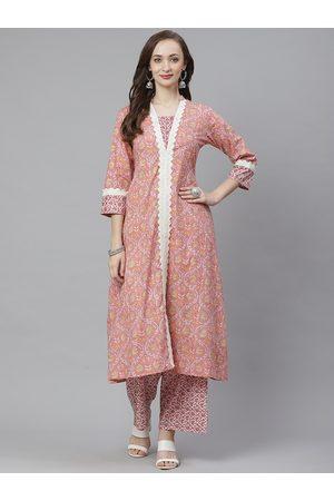 Bhama Couture Women Pink & White Printed Kurta with Palazzos