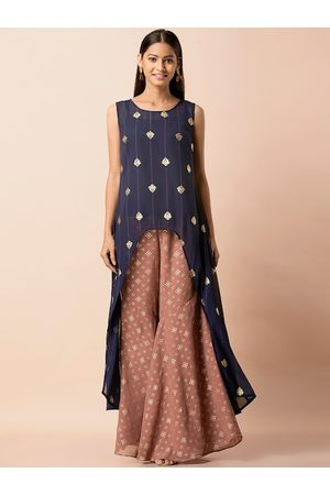 INDYA Women Navy Blue & Gold-Toned Foil Print Flared High Low Tunic