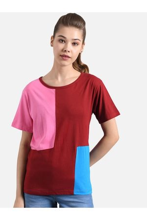 KOTTY Women Maroon & Turquoise Blue Colourblocked Round Neck T-shirt