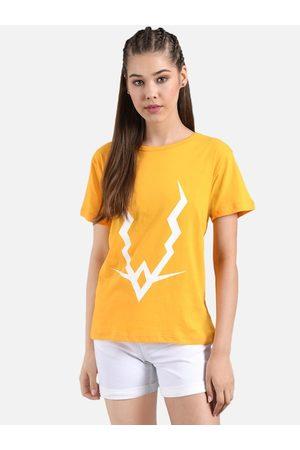 KOTTY Women Mustard Yellow & White Printed Round Neck T-shirt